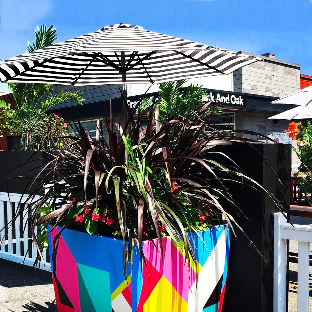 Terrasse exterieur avec pot de fleur coloré et un parasol rayé noir et blanc