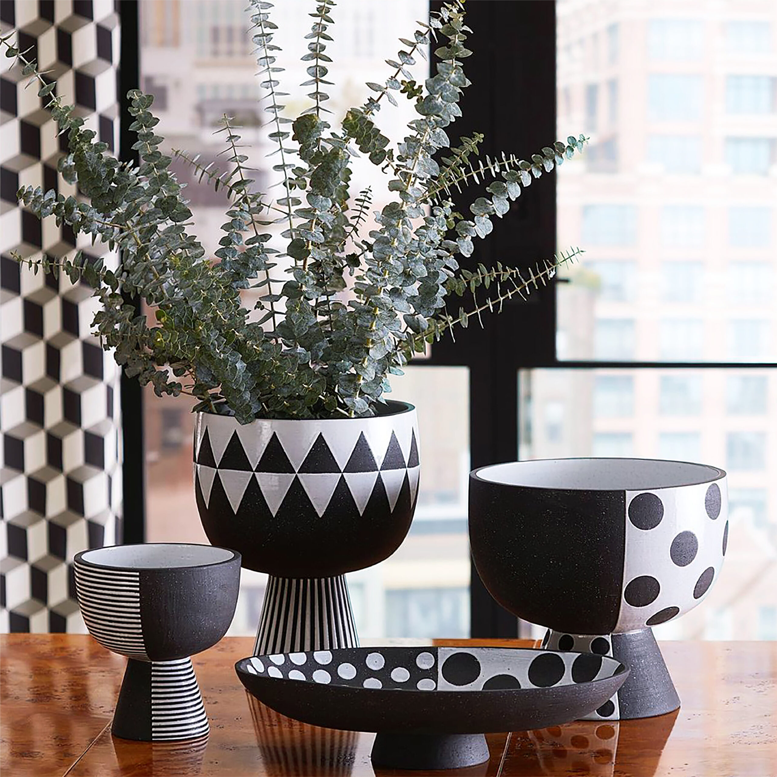 black and white ceramic pottery